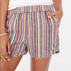 Madewell Linen Blend Pull On Rainbow Stripe Shorts